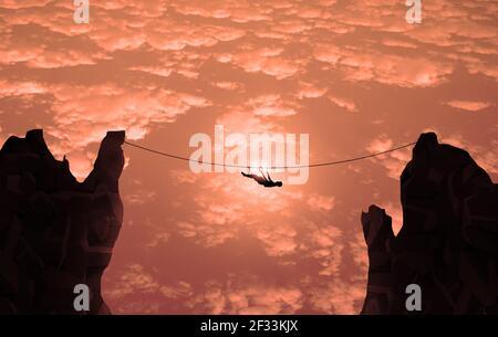 Hombre joven balanceándose en cuerda de línea entre dos altos acantilados. Concepto de riesgo de negocio. Hobby de peligro, cielo azul y desafiante concepto de acantilado de hombre de negocios