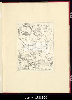 Imprimir, nouveau livre de princpes d'ornements particulièrement pour trouver un nombre infini de formes qui dependent, d'après les dessins de Gillot. Peintre du Roy, gravé par Huquier; pl. 4