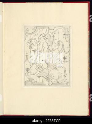 Imprimir, nouveau livre de princpes d'ornements particulièrement pour trouver un nombre infini de formes qui dependent, d'après les dessins de Gillot. Peintre du Roy, gravé par Huquier; pl. 3