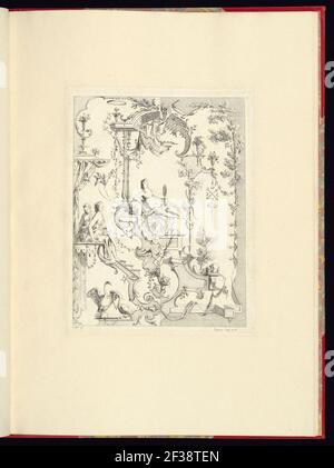 Imprimir, nouveau livre de princpes d'ornements particulièrement pour trouver un nombre infini de formes qui dependent, d'après les dessins de Gillot. Peintre du Roy, gravé par Huquier; pl. 8
