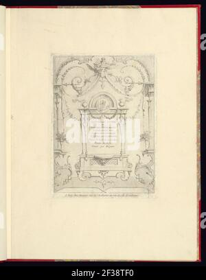 Imprimir, nouveau livre de princpes d'ornements particulièrement pour trouver un nombre infini de formes qui dependent, d'après les dessins de Gillot. Peintre du Roy, gravé par Huquier; página de título