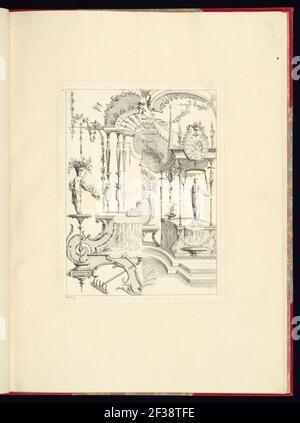 Imprimir, nouveau livre de princpes d'ornements particulièrement pour trouver un nombre infini de formes qui dependent, d'après les dessins de Gillot. Peintre du Roy, gravé par Huquier; pl. 9