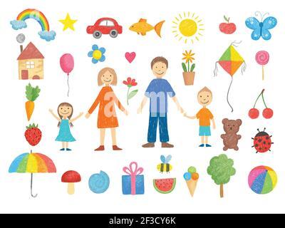 Dibujos para niños. Cómo dibujar a los niños pequeños lápiz coloreado lápiz lápiz mano dibujado juguetes sonriendo gente divertidos imágenes vectoriales ilustraciones