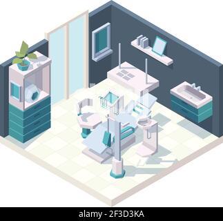 Armario dental. Sala de estomatología interior clínica con muebles profesionales dentistas silla médica vector 3D isométrica