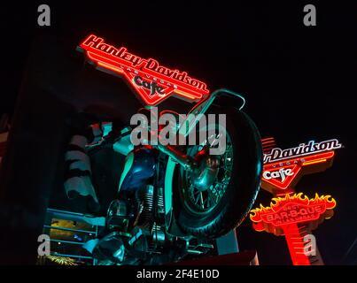 The Neon Sign at the Harley Davidson Café on the Strip, las Vegas, Nevada, Estados Unidos