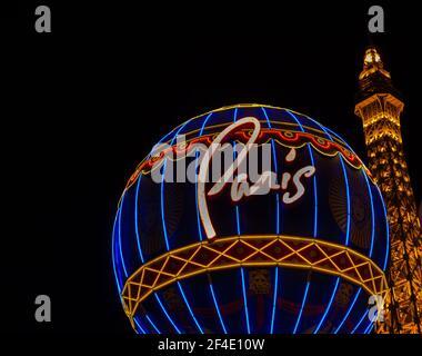 La Luz del Casino de París, las Vegas, Nevada, Estados Unidos