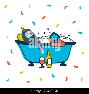 Fiesta de animales. Fiesta perezosa. Lindo perezoso relajante en el baño con vino y serie de tv. Ilustración vectorial
