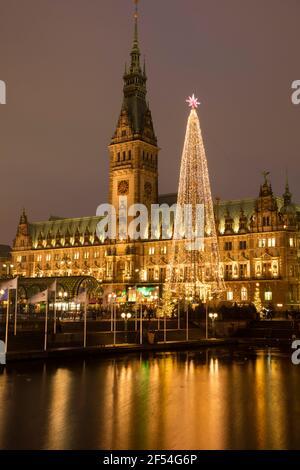 Geografía / viajes, Alemania, Hamburgo, ayuntamiento, mercado histórico de Navidad, Derechos adicionales-liquidación-Información-no-disponible