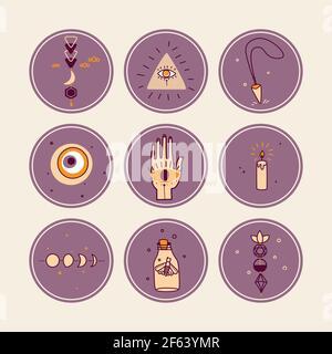 Vector Highlight cubre las historias de las redes sociales. Magia, concepto esotérico. Colección de iconos redondos de objetos místicos.