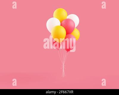 Los globos de colores 3D representan la ilustración sobre fondo rosa.