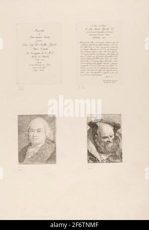 Autor: Giovanni Domenico Tiepolo. Título Página, Dedicación, Retrato de Giambattista Tiepolo, Viejo Pordado - 1775 - Giovanni Domenico Tiepolo