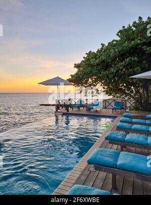 Relajante playa de verano, terraza para tomar el sol y piscina privada con palmeras cerca de la playa y vistas panorámicas al mar en la casa de lujo Curacao Caribe