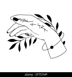 Mano dibujada con símbolos mágicos, símbolos astrológicos mágicos ilustraciones de vectores. Puede utilizar el diseño de Tattoo, símbolo esotérico místico.