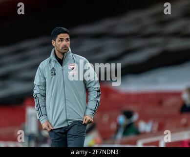 Londres, Reino Unido. 9th de Abr de 2021. El gerente del Arsenal, Mikel Arteta, es visto durante el partido de fútbol de la UEFA Europa League de 1st partidos entre el Arsenal FC y SK Slavia Praha en el Emirates Stadium de Londres, Gran Bretaña, el 8 de abril de 2021. Crédito: Xinhua/Alamy Live News