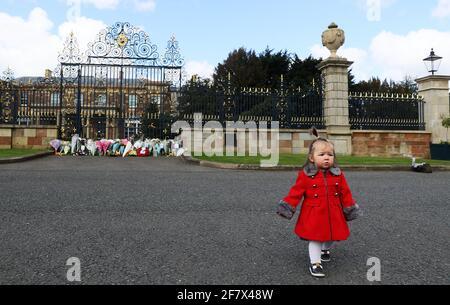 Maise Cairns, de 18 meses de edad, a las puertas del Castillo de Hillsborough en Irlanda del Norte, durante un homenaje con armas de 41 vueltas, tras el anuncio de la muerte del Duque de Edimburgo a la edad de 99 años. Fecha de la foto: Sábado 10 de abril de 2021. El Príncipe Felipe, de 99 años, fue el consorte más antiguo en la historia británica. Ver historia de la AP MUERTE Philip.