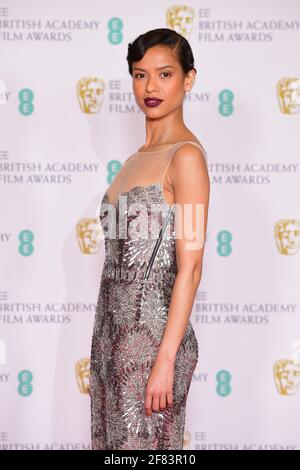Gugu Mbatha-Raw llega a los EE BAFTA Film Awards en el Royal Albert Hall de Londres. Fecha de la foto: Domingo 11 de abril de 2021. Foto de stock