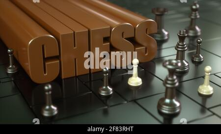 renderizar en 3d. Tablero de ajedrez y piezas