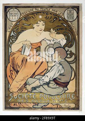 Societe Populaire des Beaux-Arts – Art Nouveau de Alphonse Mucha Foto de stock