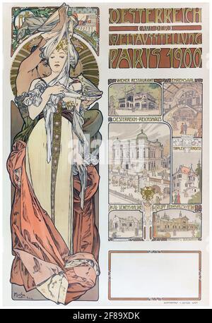 CARTEL – Plakat Mucha Osterreich Paris 1900 – Art Nouveau de Alphonse Mucha. Cartel de la Feria Mundial.