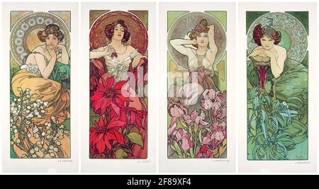 Art Nouveau de Alphonse Mucha. Les Pierres Précieuses 1900. (Piedras preciosas).