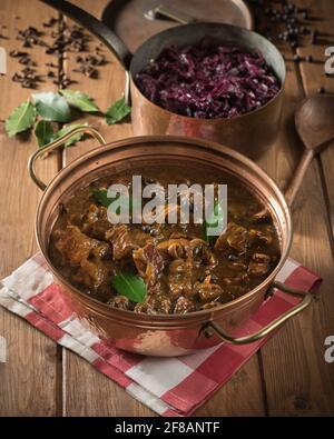 Hachee. Guiso holandés de ternera y cebolla con col roja. Países Bajos Alimentación