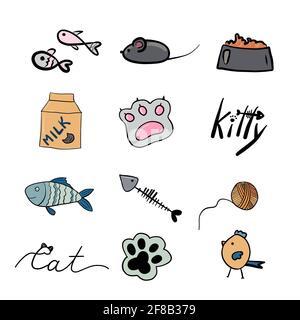 Vector de productos y accesorios para el cuidado de mascotas