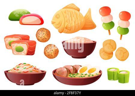 Arroz en tazón, ramen de sopa con fideos y huevos. Comida tradicional japonesa cocinada con arroz. Juego de dibujos animados vectoriales con sushi, peces taiyaki, patatas fritas, dango, wagashi y mochi aislados sobre fondo blanco