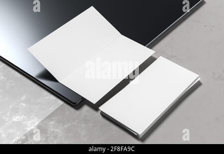 Folleto doble simulado aislado sobre fondo blanco. Ilustración 3D.