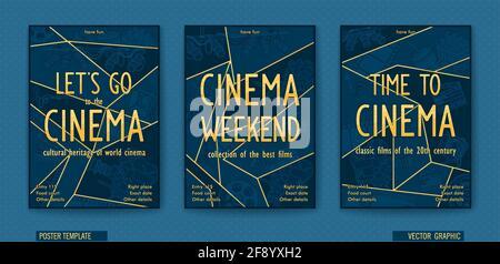 Fin de semana del cine. Póster preparado para el cine. Dibujo lineal vectorial. Gráficos poligonales de moda en estilo de cómic.