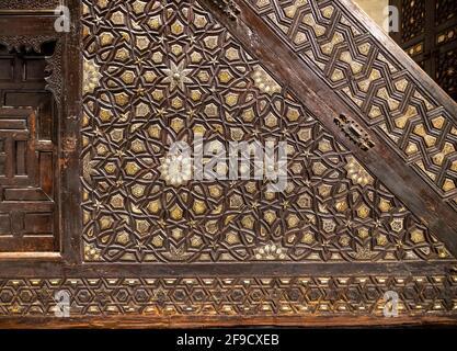 Detalle, minbar Mamluk del siglo 15th, complejo de Abu Bakr ibn Muzhir, El Cairo, Egipto, ahora en el Museo Nacional de la Civilización Egipcia, Fustat, El Cairo