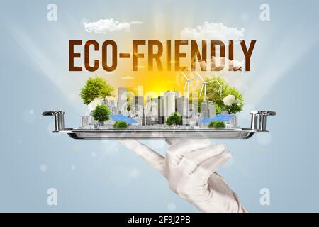 Camarero que sirve el concepto de paisaje urbano ecológico