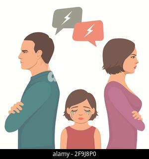 lucha contra la pareja enojada, divorcio de los padres, llanto triste del niño, ilustración del vector de la familia