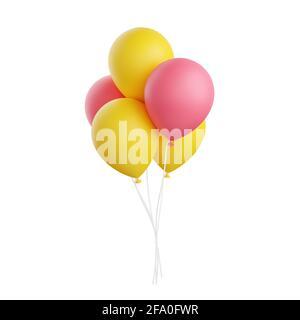 Los globos de colores 3D representan una ilustración aislada sobre fondo blanco.