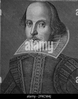 William Shakespeare (1564-1616). Escritor inglés. Facsímile de un grabado de cobre por Martin Drocsbont, 1623. Historia Universal, 1884