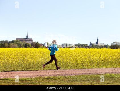 Verano con campos de colza fuera de Vadstena, exerciser con el castillo y la iglesia abacial de Vadstena en el fondo. Foto de stock