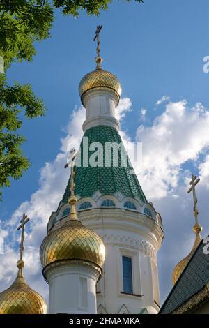La iglesia de San Nicolás el Creador del Milagro también se refiere como la Iglesia Rusa. Sofía, Bulgaria