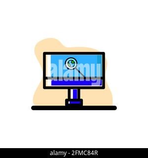 Monitor Buscando Vector Icono conceptual Diseño Ilustración eps10