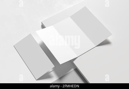 Tres pliegues - tríptico folleto falso aislado sobre fondo blanco moderno. Ilustración 3D