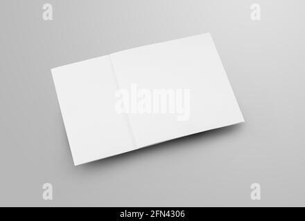 Plantilla en blanco de tres pliegues cerrada con sombras realistas, folleto comercial cuadrado, para diseño de presentaciones. Folleto estándar de maqueta, apilado sobre e