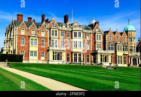 Sandringham House, Norfolk, retiro rural, de HM la Reina, siglo 19th, arquitectura victoriana británica, Inglaterra Reino Unido