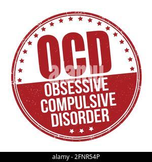 OCD ( Trastorno Obsesivo Compulsivo ) sello de goma grunge sobre fondo blanco, ilustración vectorial