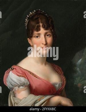Retrato de Hortense de Beauharnais, Reina de Holanda. Hortense era la hijastra de Napoleón. A través de su matrimonio con el hermano de Napoleón, Luis Napoleón, se convirtió en la reina de Holanda en 1806. Su matrimonio no fue un éxito, y Hortense encontró a Holanda un lugar frío y sombrío. Prefirió vivir con sus hijos en la corte de Napoleón en París, donde tuvo su retrato pintado por Girodet, el artista principal del día.
