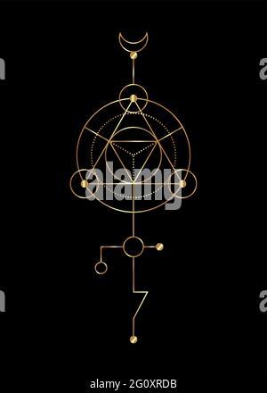 Geometría sagrada signos místicos abstractos. Merkaba forma de triángulo geométrico de línea delgada, símbolos esotéricos o espirituales, aislados sobre fondo negro. Oro l