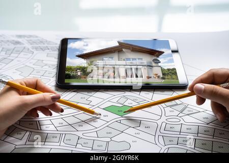 Plano del mapa del catastro. Propiedad inmobiliaria