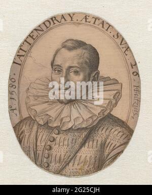 Retrato de un joven desconocido. Retrato de un hombre de 26 años en óvalo con periférico: A 1586. J'attendray. Aetat, SVAE 26. H. Goltzius