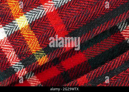 Diseño de cuadros rojos, fondo de textura tartán de alta resolución de tela de tela y algodón, foto de primeros planos