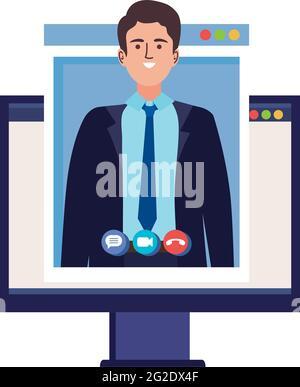 Hombre en llamada en el ordenador
