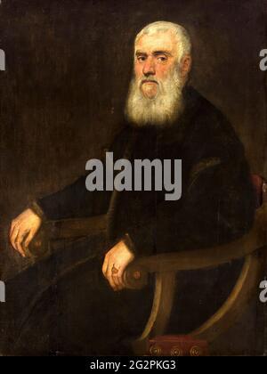 Jacopo Robusti a.k.a Tintoretto - Retrato de un hombre de barba blanca en una silla de ruedas