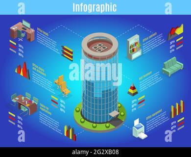 Plantilla infográfica isométrica de oficina interior con escritorio de mobiliario de centro de negocios mesas sillas estantería equipo gráficos vector aislado ilustrat
