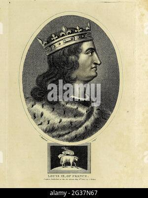 Luis IX de Francia Luis IX (25 de abril de 1214 – 25 de agosto de 1270), comúnmente conocido como San Luis o Luis el Santo, fue rey de Francia de 1226 a 1270. Luis fue coronado en Reims a la edad de 12 años, después de la muerte de su padre Luis VIII; Luis IX lideró la Séptima y Octava Cruzadas contra los Ayyubids, Bahriyya Mamluks y el reino Hafsid. Fue capturado en el primero y rescatado, y murió de disentería durante el segundo. Fue sucedido por su hijo Felipe III Coperplate grabado de la Enciclopedia Londinensis OR, Diccionario universal de artes, ciencias y literatura; Volumen VI